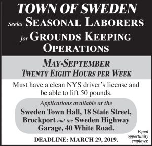 Town of Sweden grounds keeper 2x3