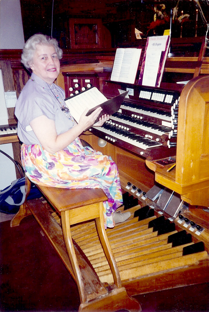 Jean Martin Brooks at the Nativity BVM church organ.