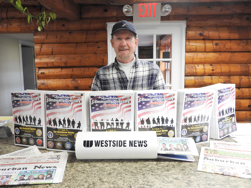 Westside News Inc. Distribution Manager Don Griffin accepted delivery of 30,000 copies of the 2019 Hometown Community Directories at the distribution center last week and began the work of organizing them for the newspaper routes. This year's is the 23rd Edition of the popular local information resource.