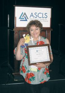 Churchville's Dyan Monte Verde, MS, MT(ASCP) received the 2018 ASCLS Scientific Assembly Award for Chemistry/Urinalysis.