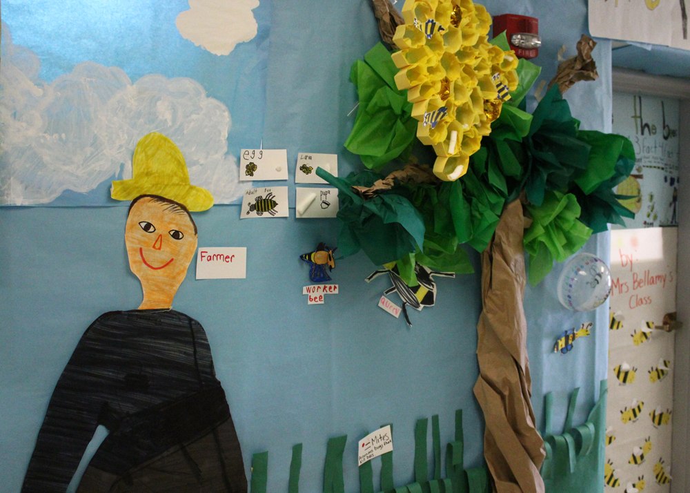 Each class created its own life-sized exhibit in the hallway, abundant with facts about how bees live and effect their environment.