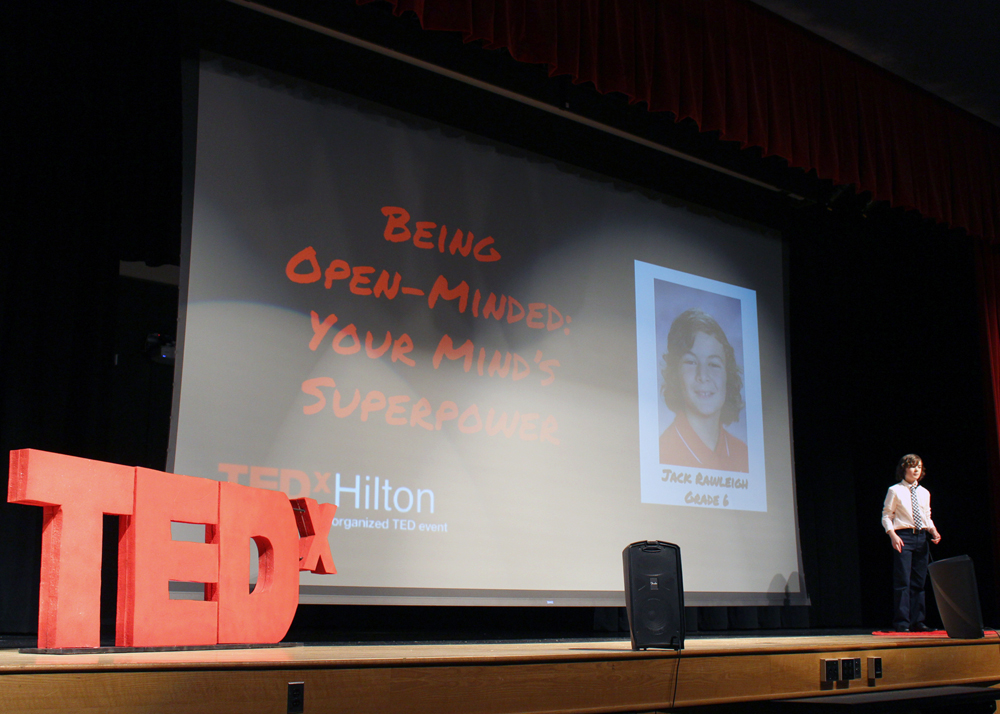 """Jack Rawleigh, a sixth grader at Northwood Elementary School, delivers his TED Talk titled """"Being Open-Minded: Your Mind's Superpower."""""""
