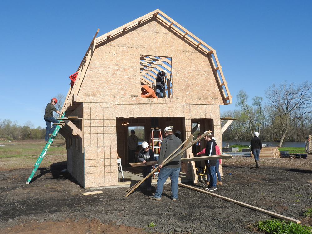 Students combined their math and construction skills to build this 16-foot by 20-foot barn for Homesteads for Hope.