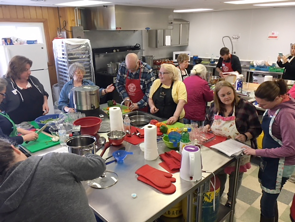 The class was split into three groups that each worked on different recipes in various categories of food preservation. The training was held in the Trolley kitchen at the Orleans County 4-H Fairgrounds.