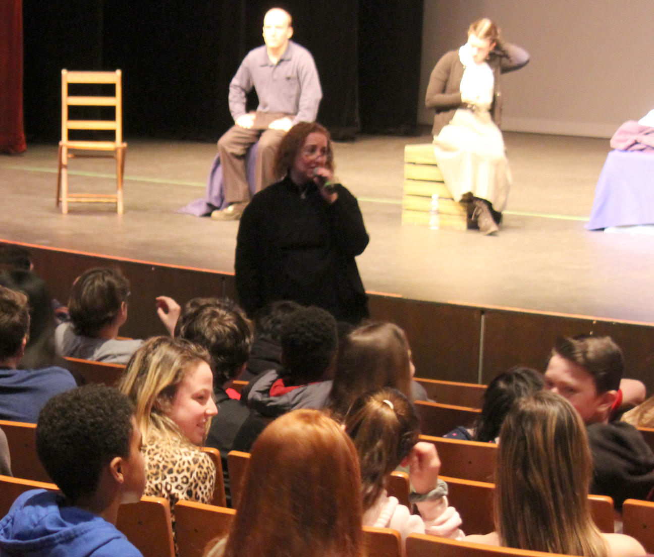 The JCC's Freyda Schneider (center) introduced the production and led a question and answer session afterwards.