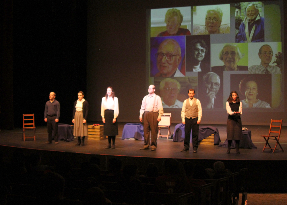 Six actors portrayed 10 survivors, all of whom were teenagers at the time of the Holocaust and who relocated to the Rochester area after the war.