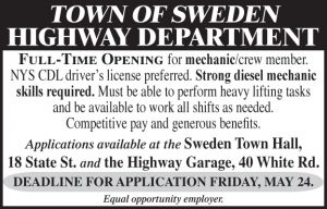Town of Sweden Highway 2x2