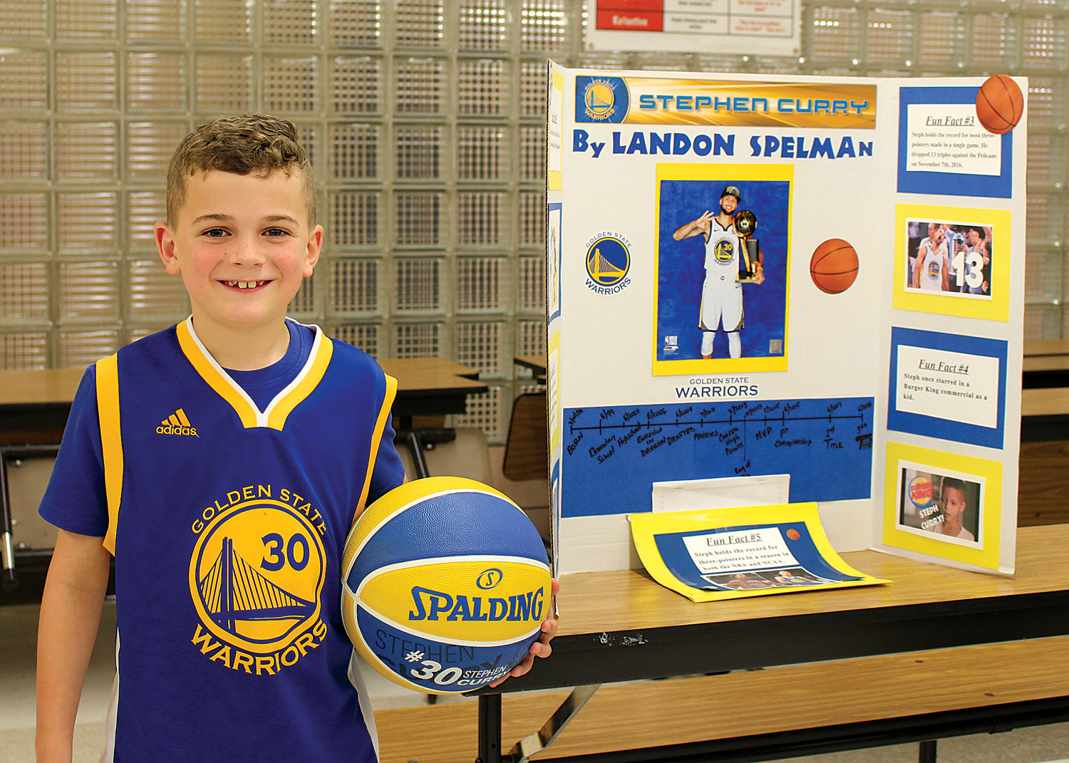Landon Spelman, a second grader at Village Elementary School in Hilton, portrays Stephen Curry of the Golden State Warriors during his class's Wax Museum.