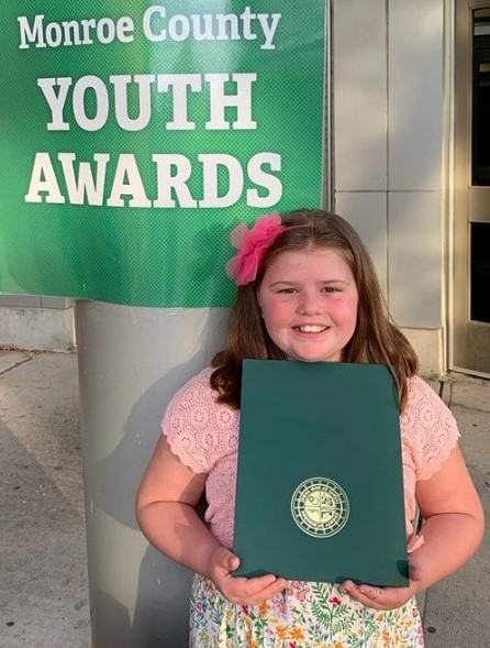 Posh Ponies 4-H Club member Brianna Tindall received a Monroe County Legislative Youth Citizen of the Year Award. Photo by Meredith Tindall