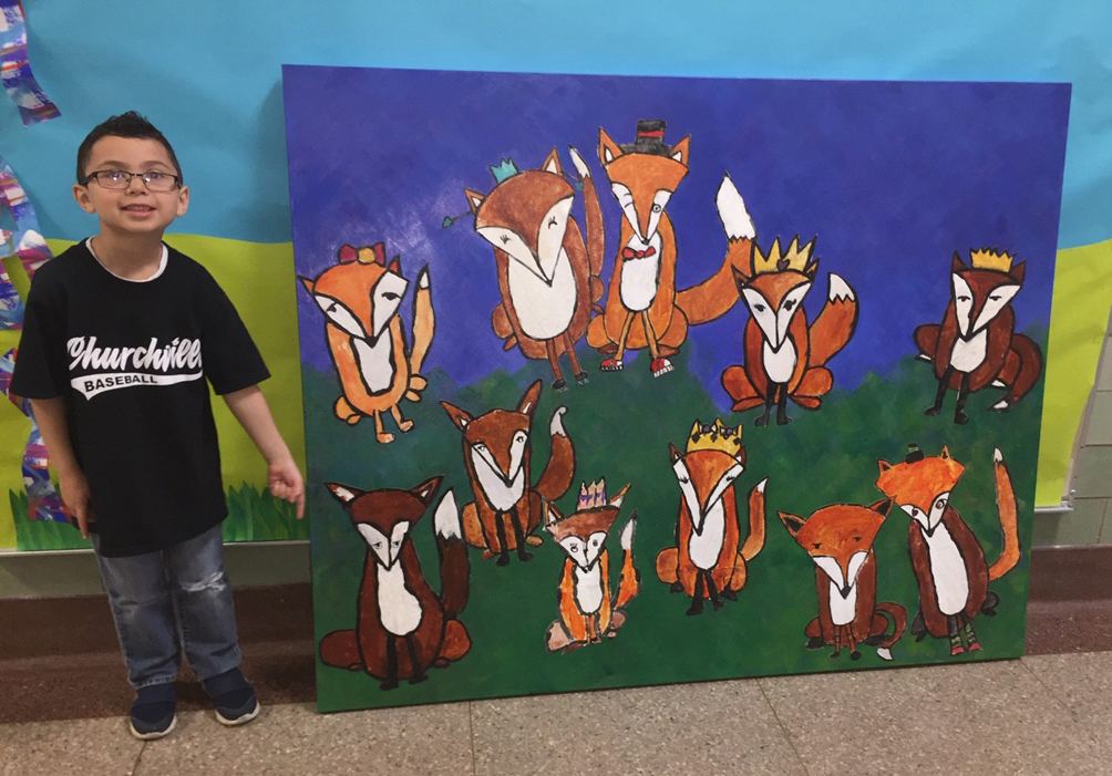 A friendly family of foxes by CES artists will welcome visitors to RMHC. Art by: Aliyana Figueroa, Carter Maysick, Archer Vonglis, Madelyn Freeman, Hailey Warren, Grant Dobson, Finnegan Hickey, Kinsley Keller, Ryan Childs, Aaliyah Hawley and Mason Morrison.