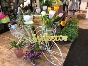"Jenni Ventimiglia of Floral Expressions by Jenni designed a ""Welcome"" creation to greet her customers."