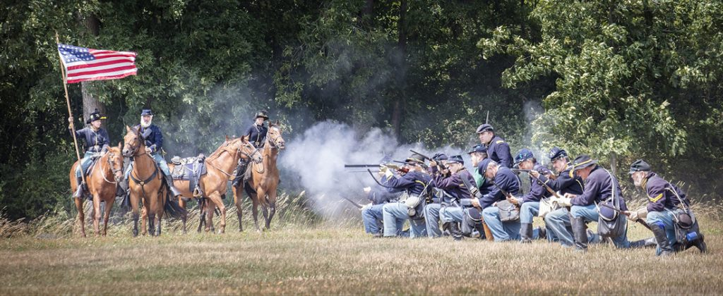 Union unit in battle. Photo by Dave Valvo