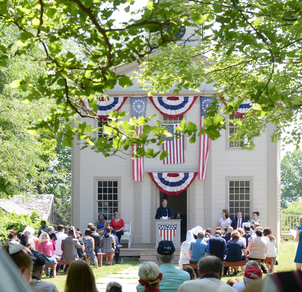 Fourth of July swearing in of new citizens at the Town Hall. Photo by Ruby Foote