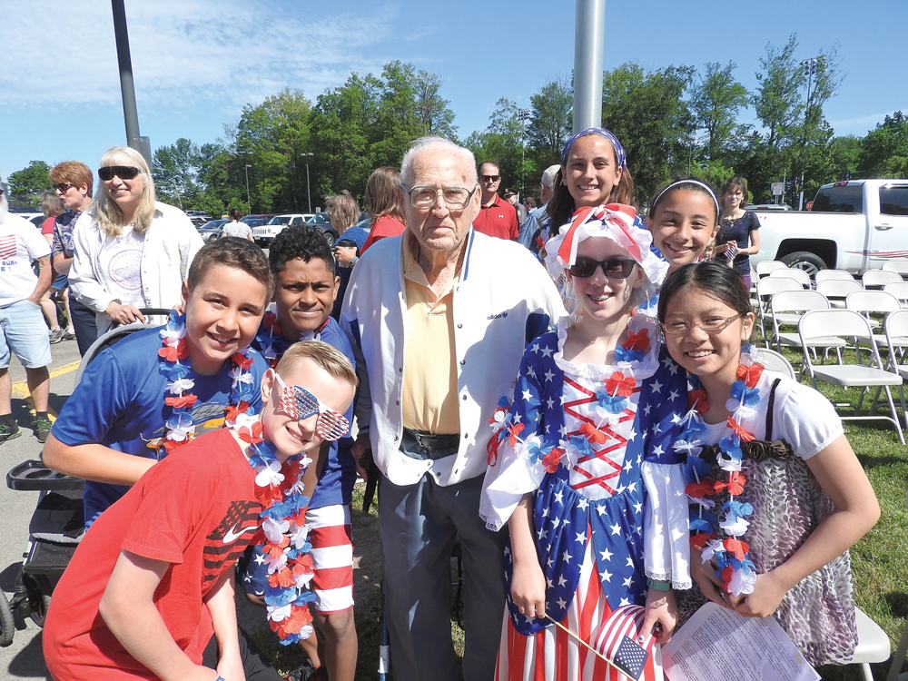 Gene visits Canal View Elementary School three times a year to talk with students about his experiences in WWII. This photo is from a 2017 visit.