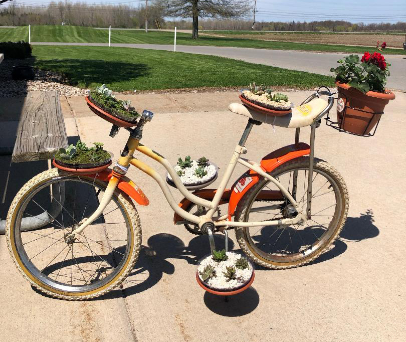 Patrick Montanaro completed the first bike, on display at the Ogden Farmers' Library.