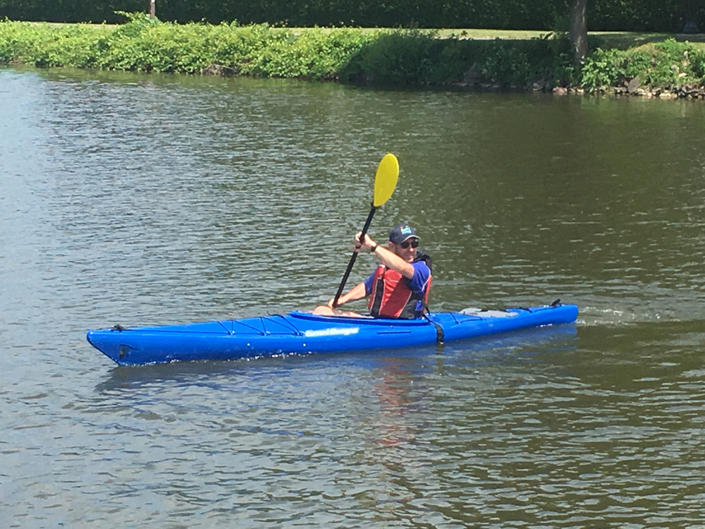 Devenish enjoying kayaking on the Erie Canal in Spencerport.