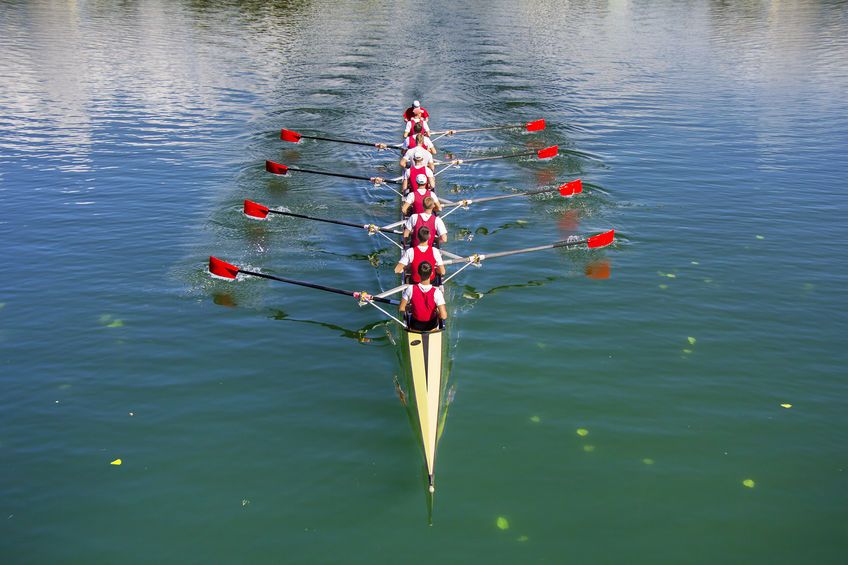 Boat coxed eight Rowers rowing