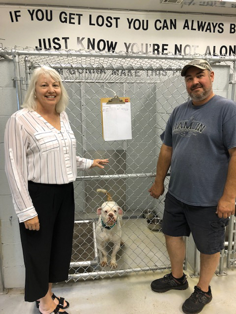 "Jackie Smith and Dave Maynard at the ""Craig A. Goodrich"" Dog Shelter."