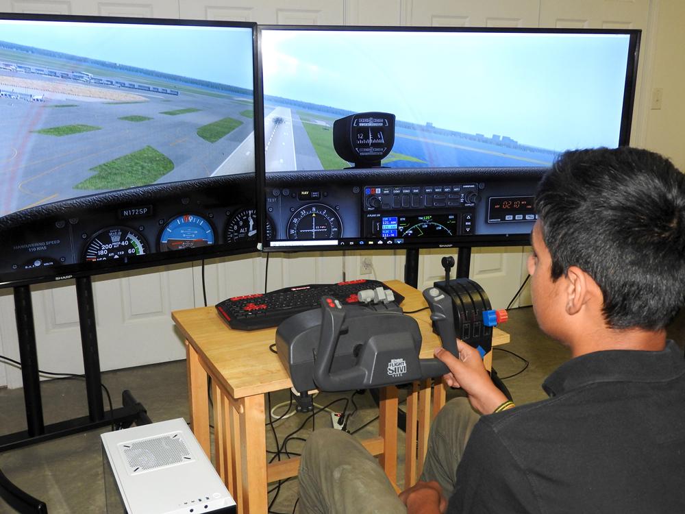Dhruva Rana on the large flight simulator.