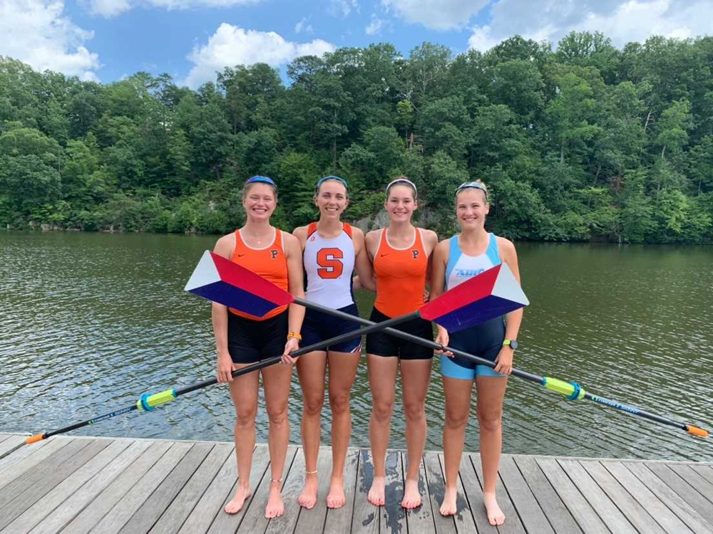 Katie Flynn (right) with her team from the 2019 World Rowing Championships.