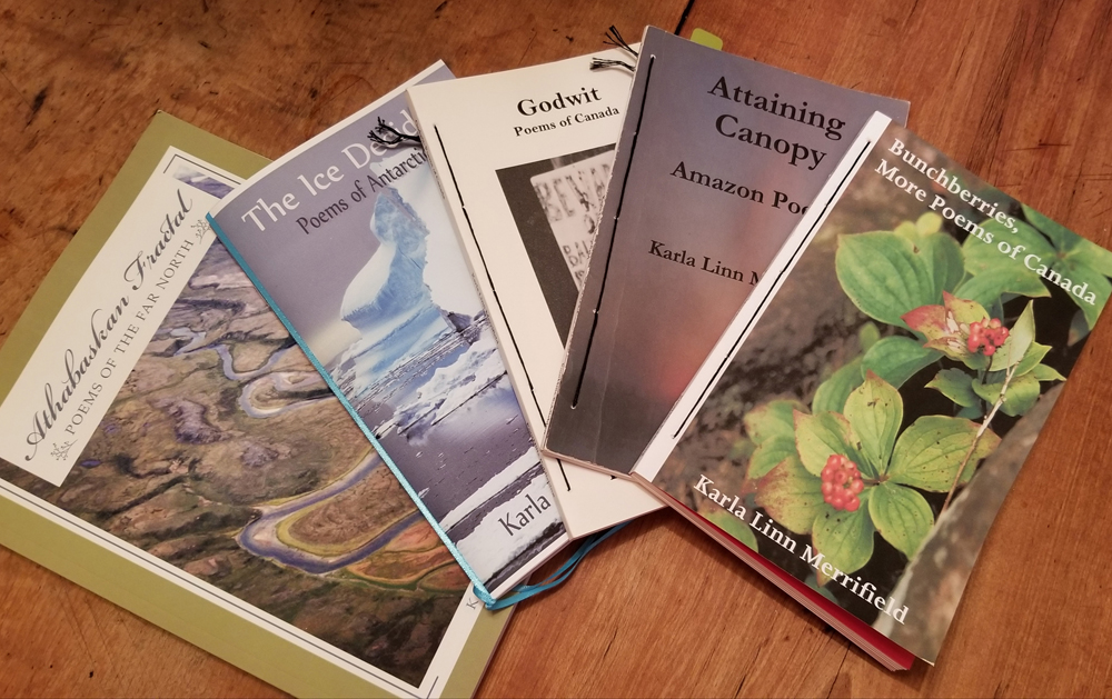 Karla's recent book joins others in a growing list of her publications on travel: 2007 Godwit: Poems of Canada, 2012 The Ice Decides, 2013 Lithic Scatter and other Poems, 2013 Attaining Canopy and 2015 Bunchberries: More Poems of Canada. Photo by Dianne Hickerson