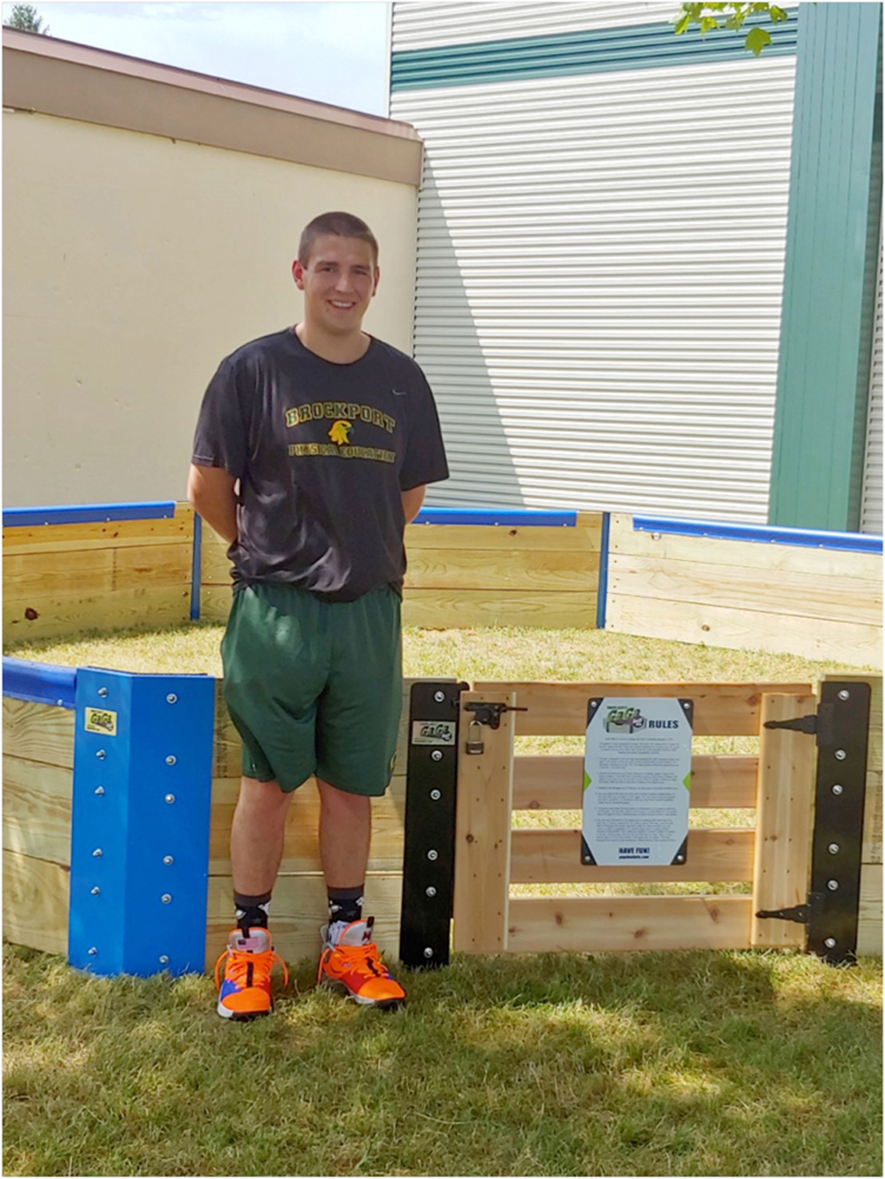 Coby Albone constructed the gaga pit as his thesis project.
