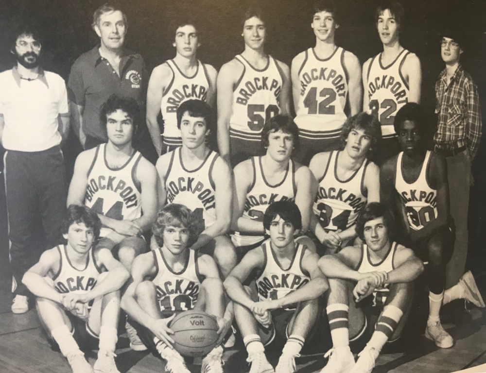 Jeff Van Gundy is shown here with his Brockport High School basketball team. He is in the front row, second from the right.