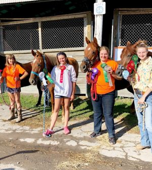 Anya Katz, Sara Menke, Erin Zielinski, and Victoria Canales participating in the 4-H Gymkhana events. Photo provided by Susan Coyle.