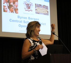 Christine Merle from Whole Child Connection presents to faculty and staff on Byron-Bergen Opening Day. Photo by Gretchen Spittler.