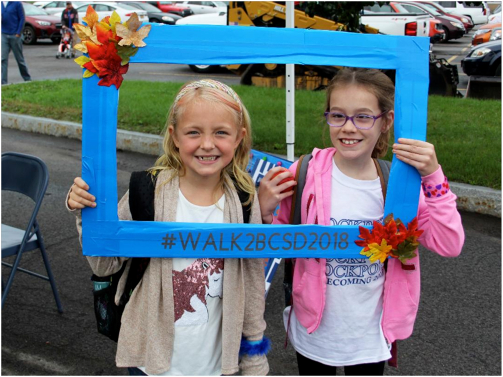 Students enjoyed Walk to School last year. Photo courtesy of Brockport Central School District.