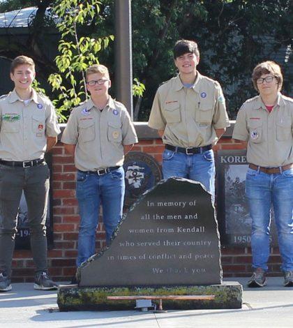The memorial is a joint project for (l-r) Ryan Barrett, Noah Rath, Brian Shaw, and Jayden Pieniaszek.