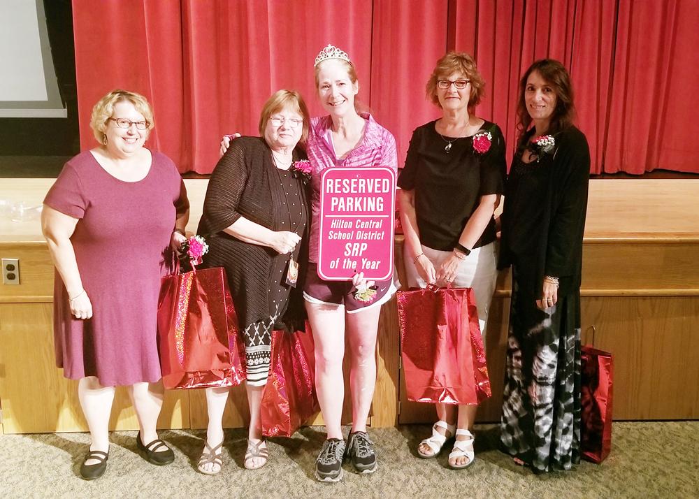 Hilton Central School District's School-Related Professional of the Year finalists: (l-r) Elaine Iabone, Lynda Donovan, Nancy Schoenweitz, Cindy Ward and Connie Romano.