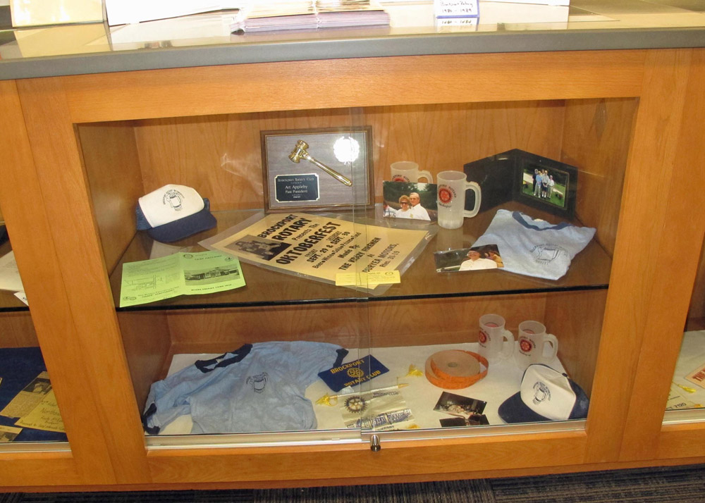 Some of the items on display as part of the Brockport Rotary exhibit at the Seymour Library.