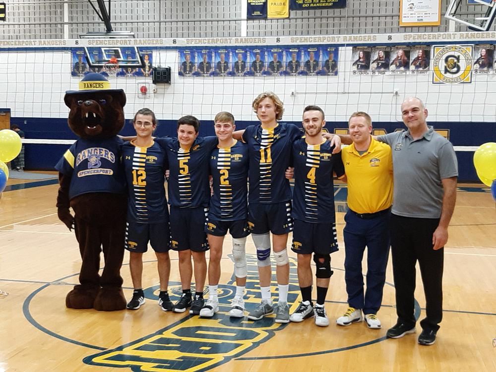 Spencerport seniors (l-r) Bendetto Cannizzaro, Joe Cuddy, Garrett Bonacci, Alex Caton, and Nathan Hubbard with coaches. Photo by Warren Kozireski