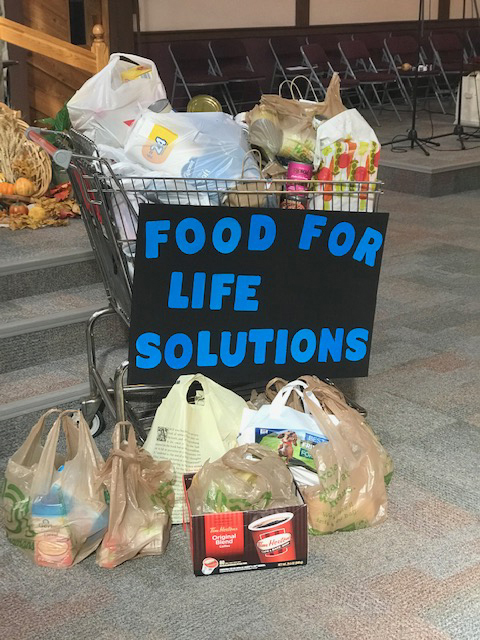 160 pounds of food and dry goods were donated to Life Solutions Food Pantry in Hamlin.