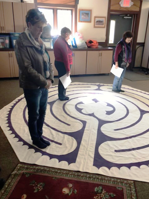 Women learned about the ancient labyrinth and experienced walking it.