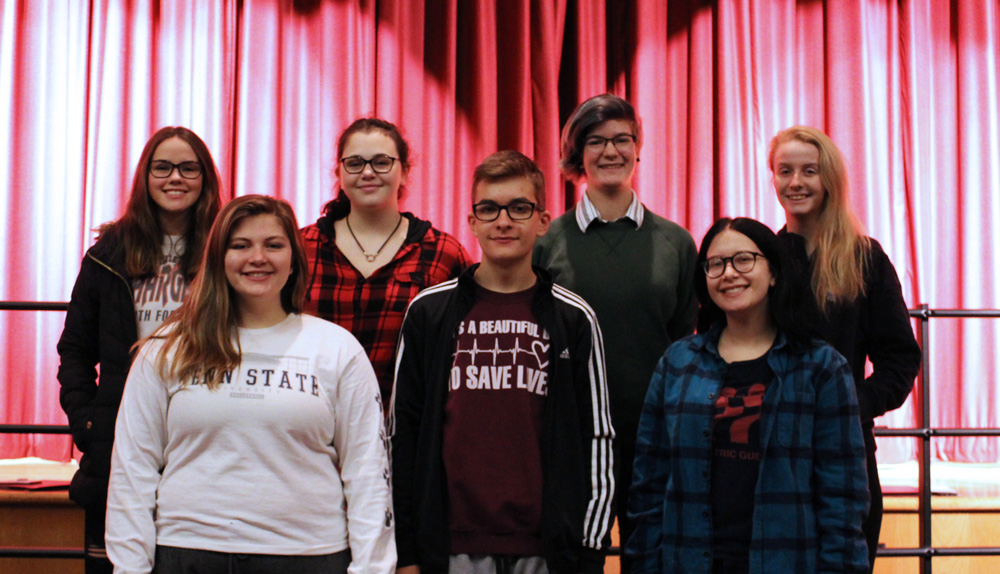 Pictured are (l-r): front row – Kelly Ireland, Caleb Calhoun, and Isabella Wilder; back row – Hope Hersom, Isabelle Stevens, Justine Bloom, and Sydney Brown. Not pictured are Jacey Donahue and Hannah Van Skiver. Photo by Gretchen Spittler