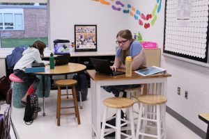 Students using flexible seating options.