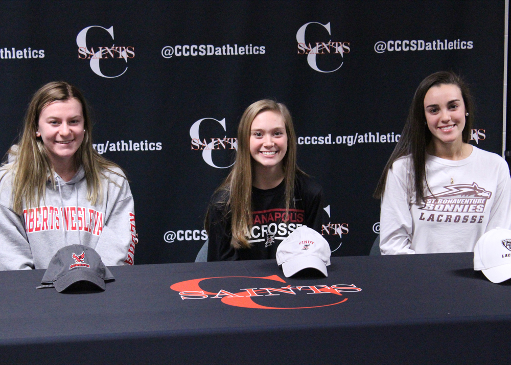 Future Roberts Wesleyan Redhawk Sophia Podszebka, University of Indianapolis's Kyla Wiest, and soon-to-be St. Bonaventure Bonnie Andrianna Gruttadauria are planning exciting college careers in lacrosse. Provided photo