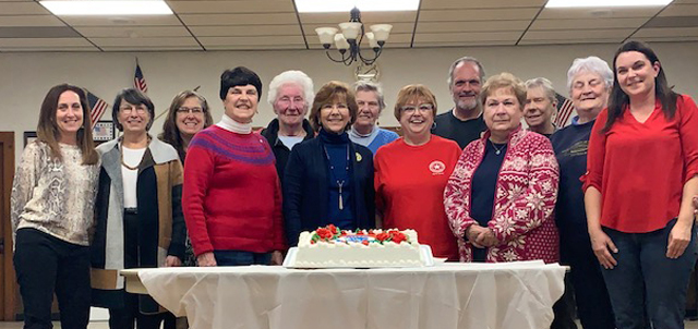 Chili Legion Auxiliary members celebrated with a special cake at their November meeting.