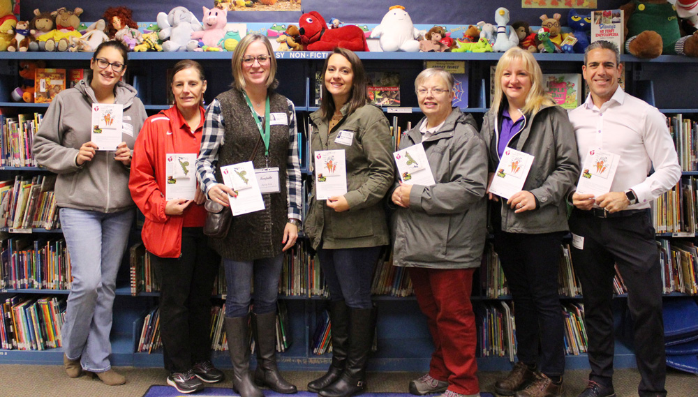 Representatives from the American Heart Association and Bonduelle USA visited Byron-Bergen Elementary School on November 1. Photo by Gretchen Spittler
