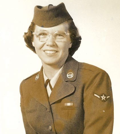 Jo Ann Newkirk as a young woman serving in the Air Force.