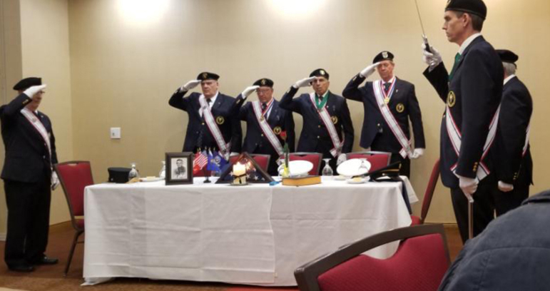 Pictured are (l-r) Tony Angotti of Henrietta Council 4812 and owner of Beers of the World, event chairman Kevin Fitzpatrick of Rochester Council 11411, New York State Representative Michael Flanagan of Spencerport Council 7707, Robin Johnson, Supervisor of Voluntary Services at the VA, and Tony Pirrone Master of the Fourth Degree Rochester and Buffalo.