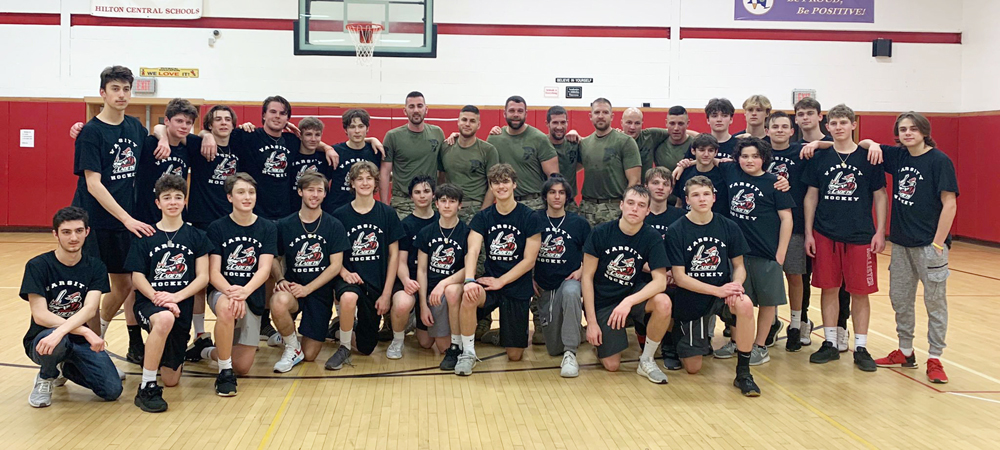 The Hilton varsity hockey team worked out with the Greece Police SWAT team in support of MOvember, which raises awareness for men's health issues.