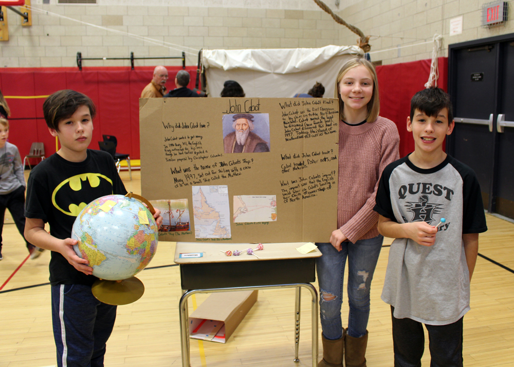 Shown (l-r) are Marcus Megalo, Hartley Lenhard and Maddox Megalo with their display on John Cabot, the Italian navigator who explored the coast of America.