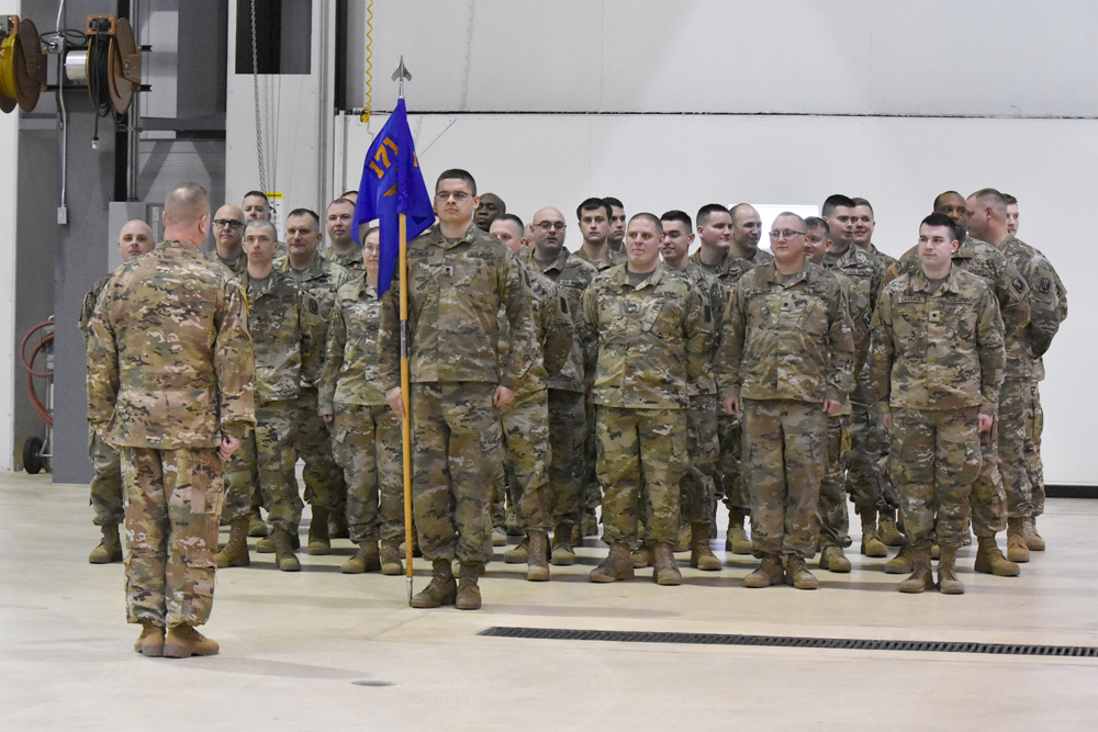 Soldiers from Charlie Company, 1st Battalion 171st General Support Aviation Battalion during their farewell ceremony in January of this year.
