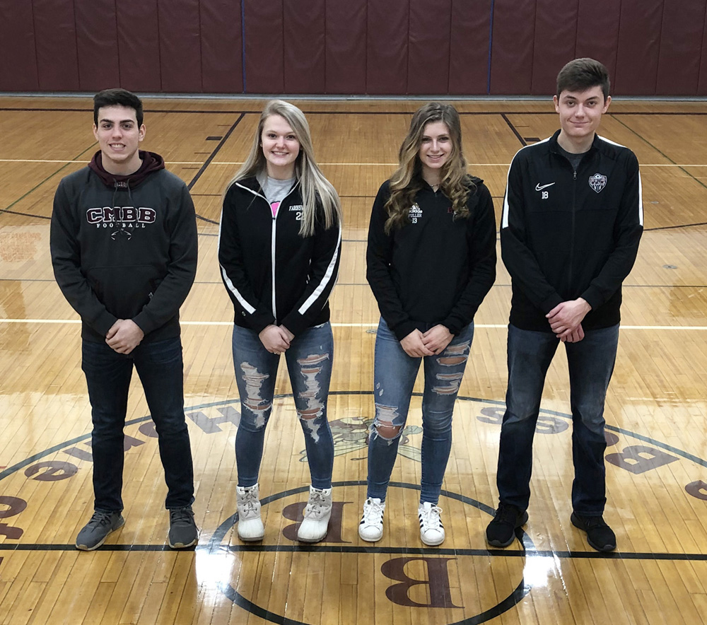 Pictured: Byron-Bergen Player of the Year honorees (l-r) Bryce Yokel, Maddie Farnsworth, Kelsey Fuller, and Sam Pringle. Photo by Gretchen Spittler