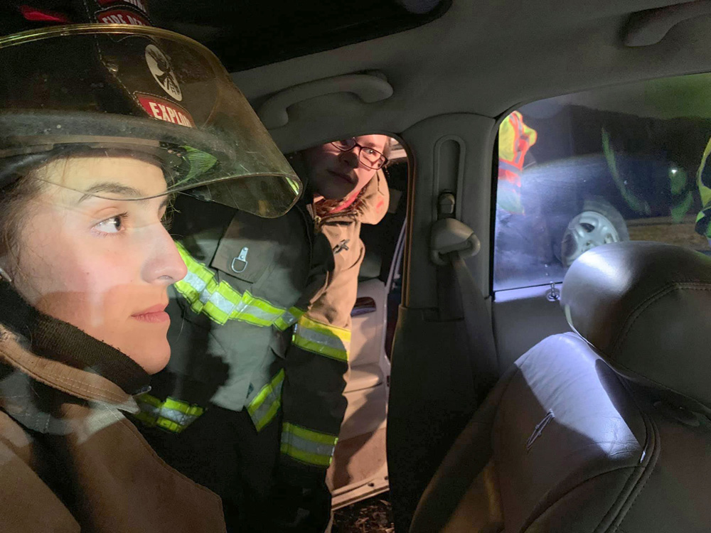 Jillian Menzie taking part in a motor vehicle accident drill with the Bergen Fire Department. Photo used with permission from the Bergen Fire Department.
