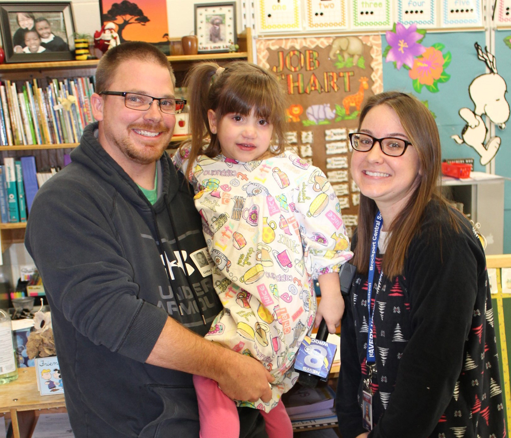 David Hoertz with his daughter, Teagan, and her teacher, Jena Albee.