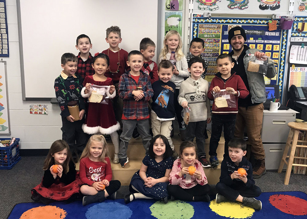 Jess Killins-Plucknette's kindergarten class at Northwood Elementary School: (front, l-r) Cecilia Smith, Brianna Ross, Anna Contrera, Angelina Smith and Colin Buck; (middle) Koby Barber-Dushenko, Ava Tran, John Carlson, Jason Monachino, Aiden Valente and Manny Rosenbaum; (back) Greyson Norselli, William Reed, Timmy Smith, Kailyn Brown, Jacoby Graves and Chef Cruz Nieves.